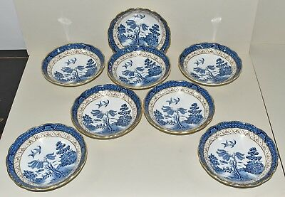 8 Vtg Antique Booths Blue Real Old Willow Small Fruit Dessert Bowls England