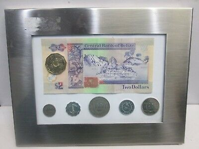 Bank Of Belize Coin And Paper Set In Frame
