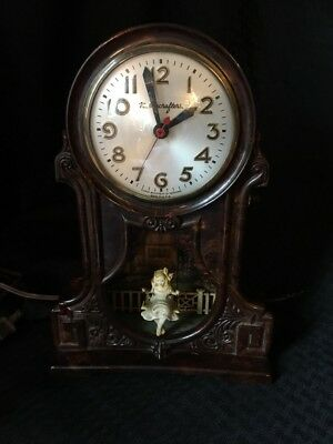 Vintage Antique Mastercrafters Sessions Swinging Girl Motion Clock Lamp