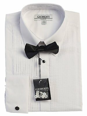 Shirt Men Tuxedo Formal  Wing Collar Lay Down Wingtip With Bow Tie Suspender New