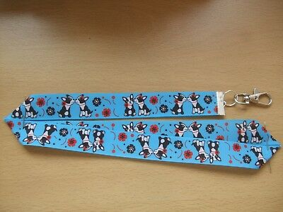 Handmade Boston Terrier Dog Lanyard Whistle Walking Training ID Key Blue Flowers