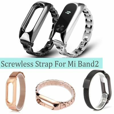 For Xiaomi Mi Band 2 Metal Wrist Smart Bracelet StainlessSteel Watch Band Strap-