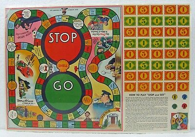 Mint Condition 1936 Shell Gasoline Stop and Go Game- Board Mounted & Shrink-wrap