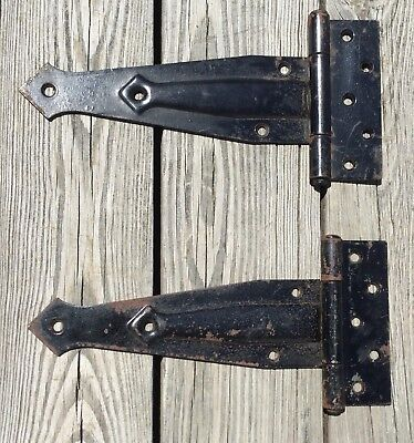 "Old Antique Vtg Heavy Embossed Arrow Iron Industrial Barn Door 12"" Hinge Pair"