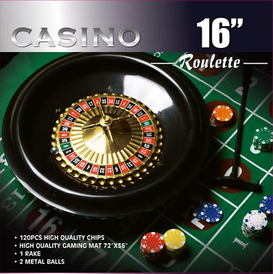Da Vinci 16-Inch Roulette Wheel Game Set with 120 11.5-Gram Chips, Full Size 3'x