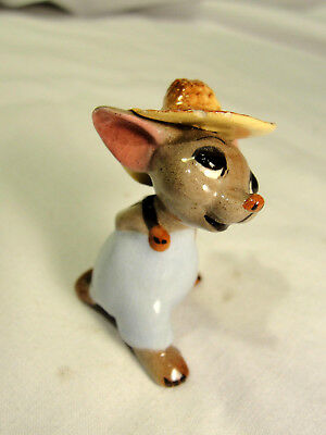 1952-55 D.W. Hagen Renaker Baby Country Mouse Vtg Miniature Figurine Straw Hat