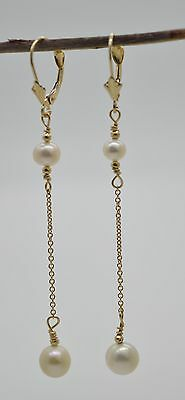 #BE102 New 14K Solid Gold Cultured White Pearl Drop/Dangle Earrings