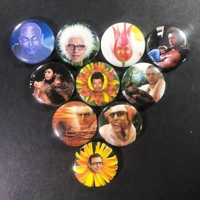 """Jeff Goldblum 1"""" Button Pin Set Silly Comedy Jurassic Park Actor Independence"""