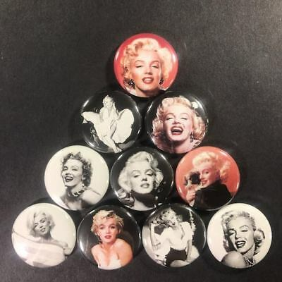 """Marilyn Monroe 1"""" Button Pin (10 piece set) Actress Classic Icon Model Pin Up"""