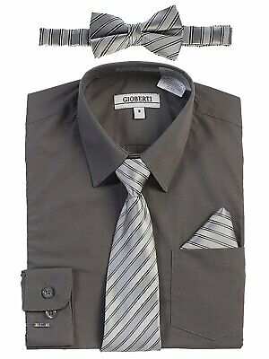 Boys Dress Shirt Long Sleeve Solid With Striped Tie Set Formal Kids Size 2T-18