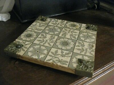 Antique Victorian Aesthetic Period Tile Silver Mount Trivet