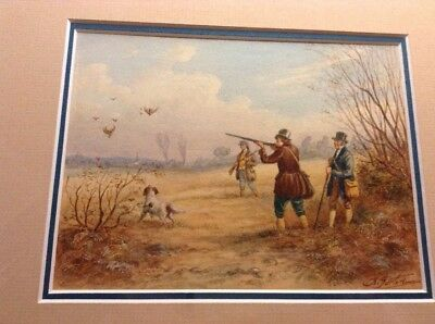 Original Antique watercolor painting of duck hunting by A. Garton, listed artist