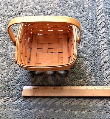 """Longaberger 7"""" Square Berry Basket With Handle 1997"""