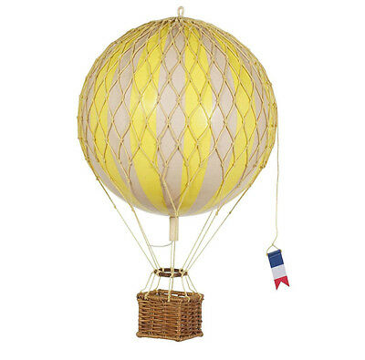 """Authentic Model 7"""" Hot Air Balloon Yellow 11.75"""" Basket Travels Light Home Decor"""