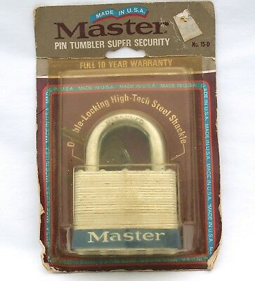 Master Lock No. 15-D ~ 5 Pin Tumbler Super Security ~ Made In USA ~New Old Stock