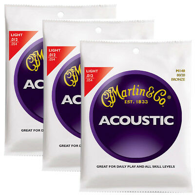 Martin M140  80/20 Bronze Round Wound Light Acoustic Strings - 3-Pack , New!