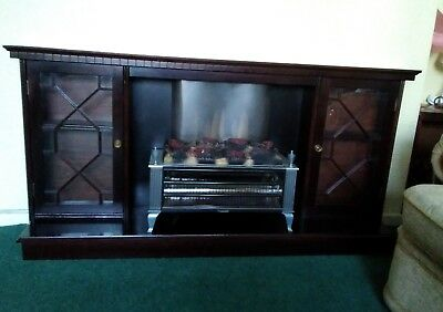 Vintage Mahogany Fire Surround With Side Display Cabinets & Electric Fire.
