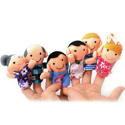 SODIAL(R) Cute 6pcs Family Finger Puppets - People Includes Mom, Dad, Grandpa8T9