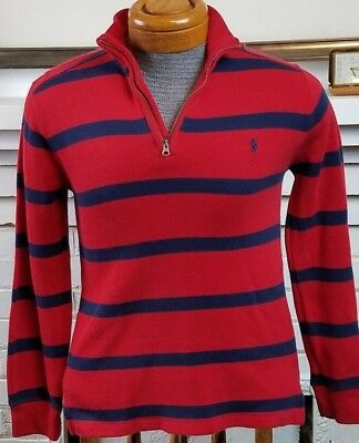 Boys Polo Ralph Lauren Red/Navy Striped 1/4 Zip Pullover Sz Large (12-14)