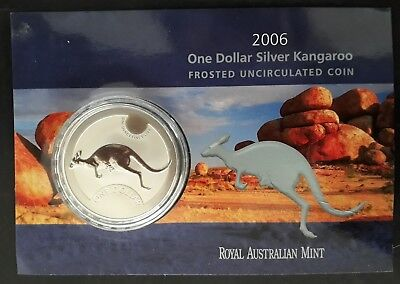 2006 Australia Kangaroo 1 oz Silver (.999) $1 Frosted UNC coin on card