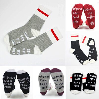 1Pair Unisex Men Women Socks Print If You Can Read This Bring Me A Glass Of Wine
