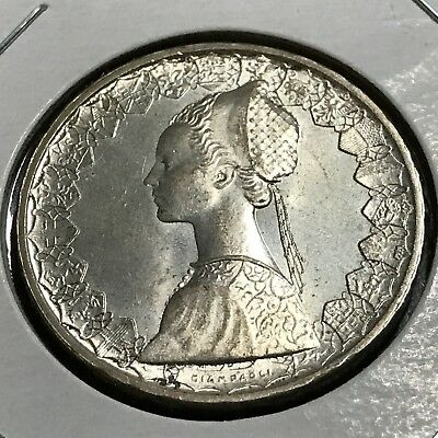 Italy 1961 Silver 500 Lira Near Uncirculated