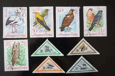 HUNGARY GREAT LOT of 9 different old BIRDS stamps triangles