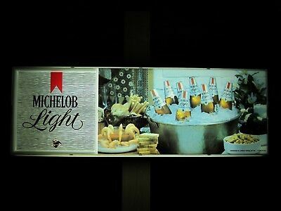 Michelob Light Beer Lighted Beer Sign With Shrimp Beer and Nuts On Ice Vintage