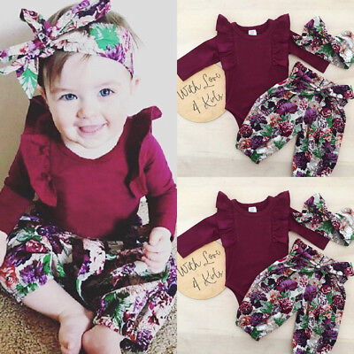 Canis Newborn Baby Girls Long Sleeve Romper Floral Pants Headband Outfit Clothes