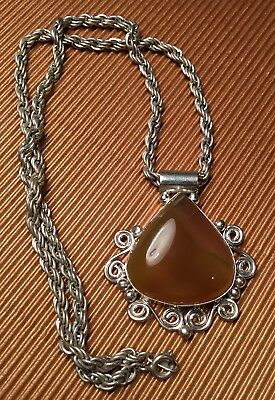 Artisan Ornate Silver Metal polished amber Brown pendant Twist Chain Necklace