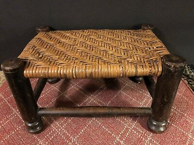 Antique Wood and Thatched Cane Caned Small Footstool