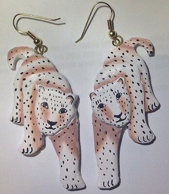 Cat Cats Animal Leopard Earrings Vintage Jewelry Women Drop Fashion Estate Big