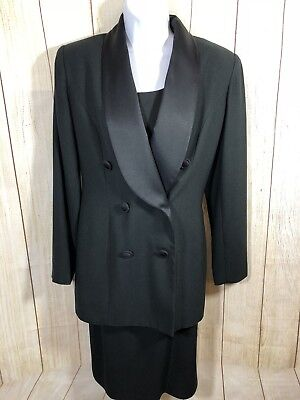 LIZ CLAIBORNE NIGHT 2 Piece Perfect Black Dress Tuxedo Satin Collar Jacket Sz 4