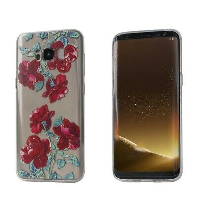 Samsung Galaxy S9 S6 S7 Edge S8 Plus Case Flower Clear Soft Bumper Print COVER