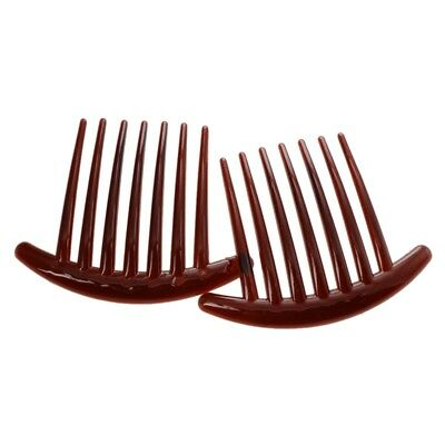 2pcs Hair Comb Pin Accessories Plastic Women Lady Fashion Brown G1C1