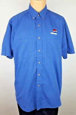 Pepsi Work Guard Men's Casual Shirt Size L Large Blue Red  Checkers Button Down