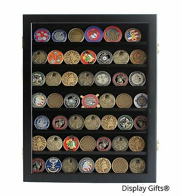 Challenge Coin Display Case Military Medallion Cabinet Rack Shadow Box Wood