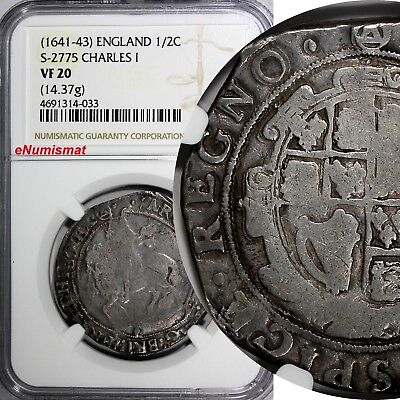 Great Britain Charles I Silver 1/2 Crown ND (1641-43) NGC VF20 Tower mint S-2775