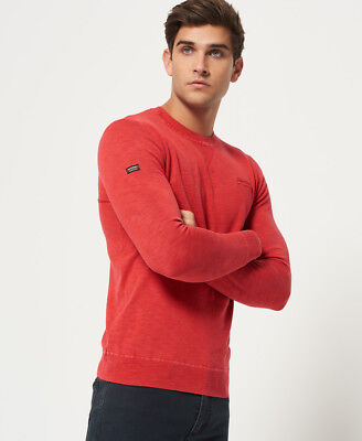New Mens Superdry Garment Dye L.A. Crew Admiral Red