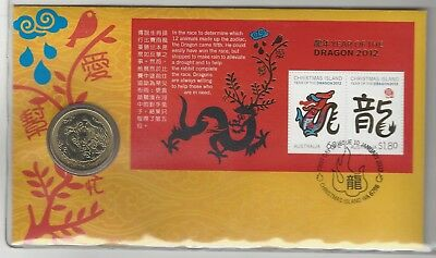 PNC - FDC - Year of the Dragon - Coin & Stamp Set - 10/01/2012 - Christmas Is.