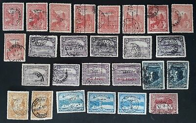 Undated Tasmania Australia Lot of 25 X Pictorial stamps A and T Perfins Used