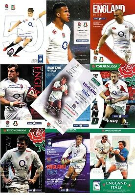 England Italy Rugby Programmes 1996 2001 2003 2005 2007 2009 2011 2013 2015 2017