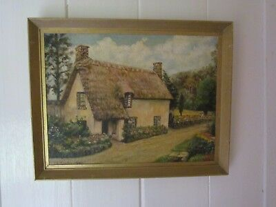 Very Pretty Old Vintage Oil Painting English Country Cottage Garden Scene Framed