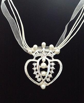No.76 Crown Pendent Necklace (White, Pearl, Cord, Ribbon, Princess)