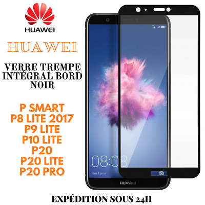 Verre Trempé Full Protection Total Film Ecran Bord Noir Huawei P30/P10/P20/LITE