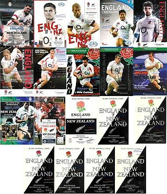 ENGLAND v NEW ZEALAND RUGBY PROGRAMMES 1954 - 2014 inc 1964 67 73 78 79 83 93 97