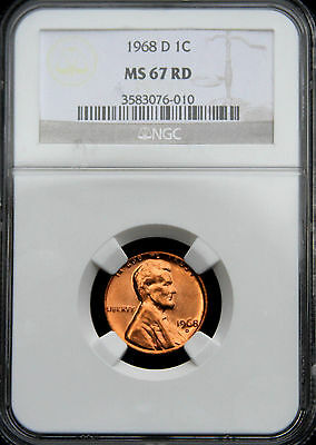 1968-D Lincoln Memorial Cent 1C Ngc Ms67 Red, Brilliant Surfaces, Pop (16/0)!