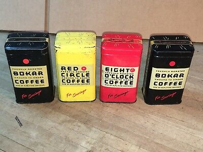 Vitage Coffee Tin Advertising Banks Country Store Lot Of 4