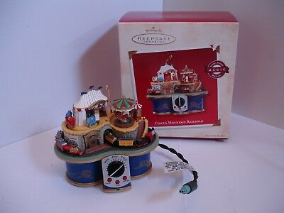 Hallmark 2002 Circus Mountain Railroad Ornament - Light, Sound, Motion - b10
