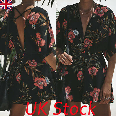Plus Size UK Womens V Neck Backless Playsuit Ladies Summer Shorts Jumpsuit 6-20